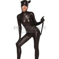 DC Comics Black Shiny Metallic Catwoman Costume Zentai Suit