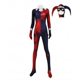 Classic Harley Quinn Super Villain Printed Cosplay Costume