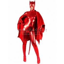 Red Shiny Metallic Catwoman Suit With Cape Bodysuit
