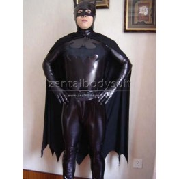 Black Shiny Metallic Batman Superhero Costume Including cloak