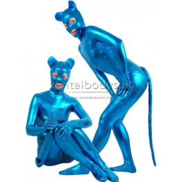 Blue Shiny Metallic Catwoman Costume Zentai Bodysuit