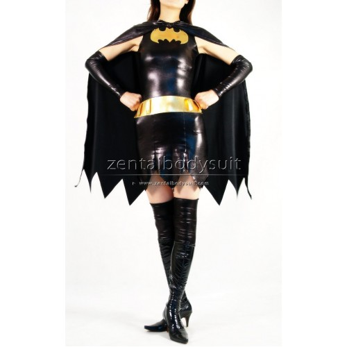 DC Comics Superheroine Batgirl Costume Metallic Superhero Zentai Suit