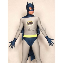 Navy Blue Grey Batman Costume Superhero Zentai Suit