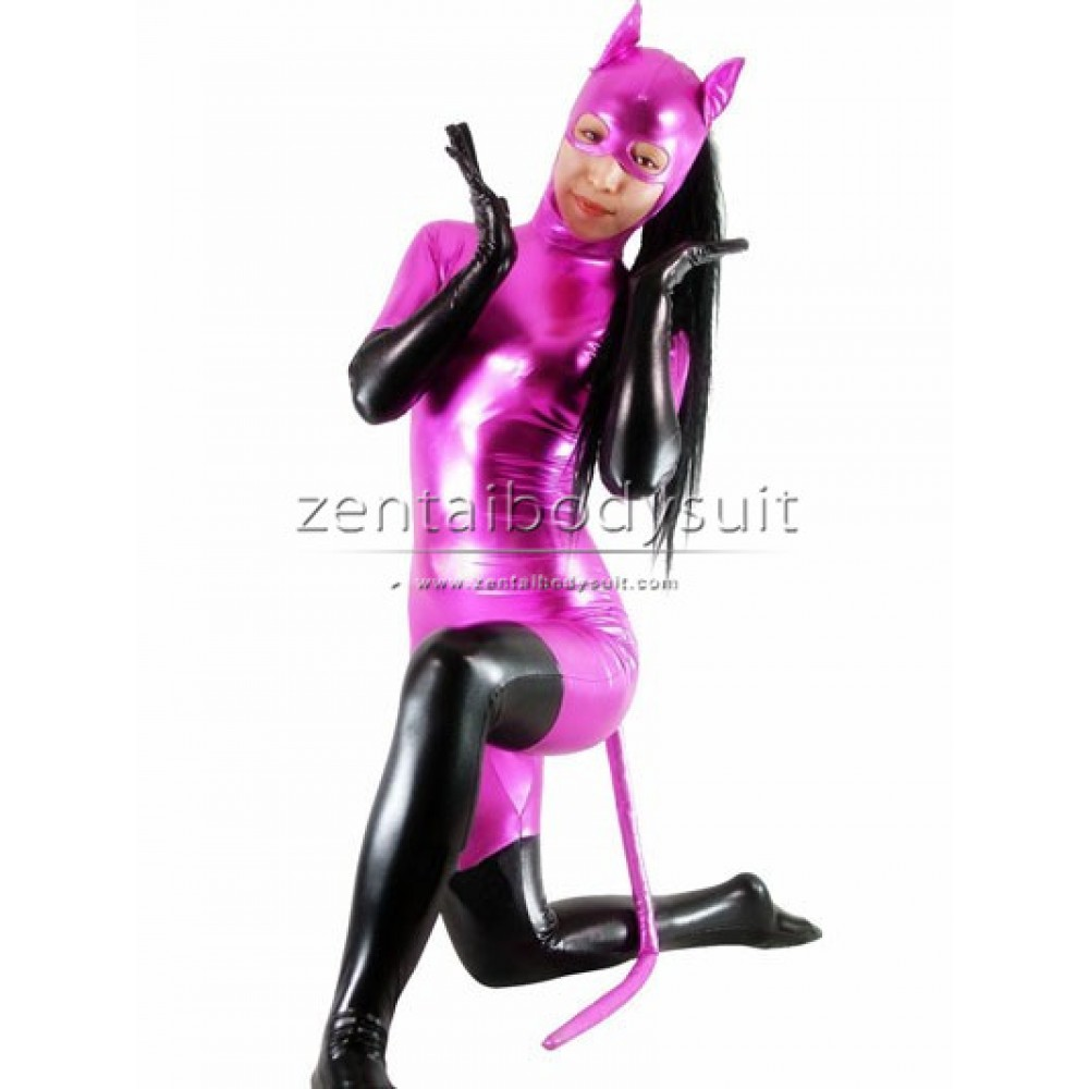 sc 1 st  Zentai Suits cosplay Personalize Party & Pink And Black Shiny Metallic Catwoman Costume