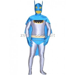 White And Blue Lake Batman Lycra Spandex Superhero Costume