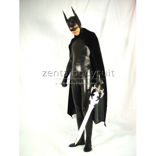 with Cape Bat Man Black Shiny Metallic Full-body Zentai Suits