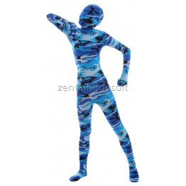Full body Sea Blue Camouflage Skin Spandex Zentai Suit