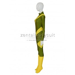 Custom Yellow Color And Army Green Superhero Costume