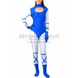 Blue And White Super Hero Spandex Zentai Costume