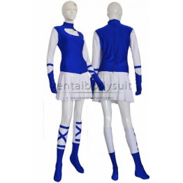 Blue And White Super Hero Custom Female Skirt Zentai Costume