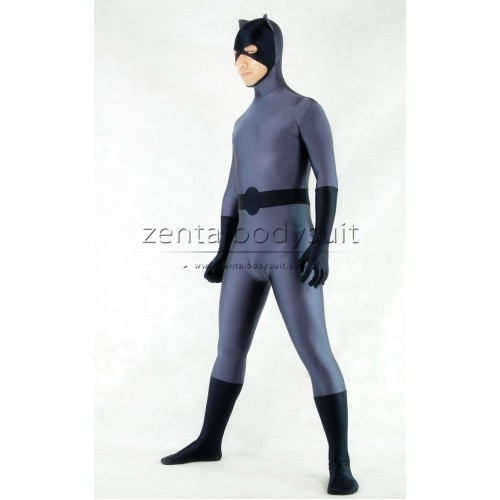 Cat Style Grey And Black Superhero Costume
