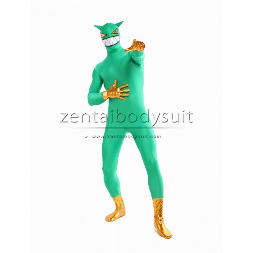 Custom Black And Green Spandex Super Hero Zentai Costume