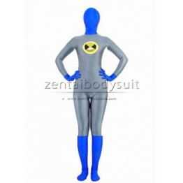 Grey And Blue Superhero Zenai Suit Costume