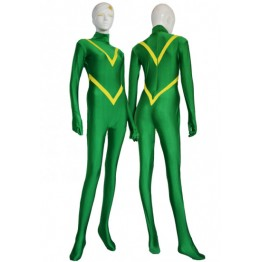 Custom Green And Yellow Spandex Lycra Superheor Suit
