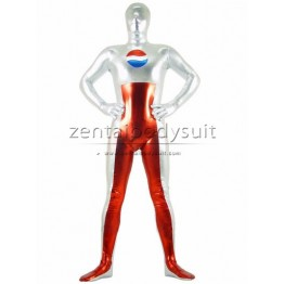 Red White Metal Coke Superhero Costume Cosplay Zentai Suit
