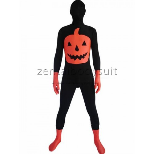 Unisex Halloween Pumpkin Multicolor Zentai Suit