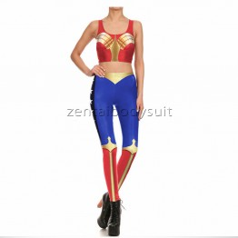 DC Wonder Woman Super Hero Fitness Sports Leggings Tights Vest Suits