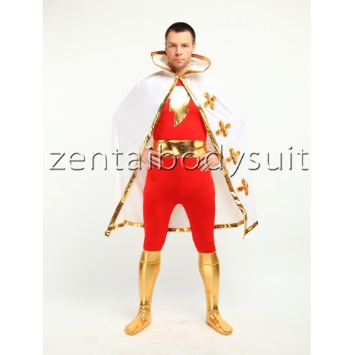 Red Spandex Captain Marvel Superhero Costume