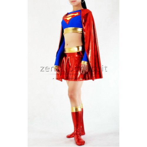 Supergirl Costume Spandex Metallic Superhero Suit