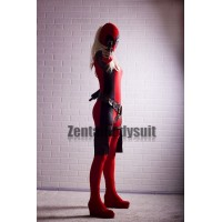 Black And Red Lycra Spandex Lady Deadpool Costume