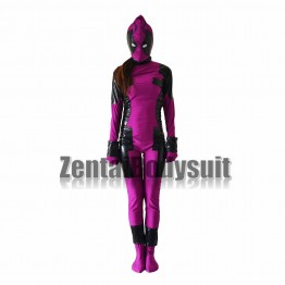 Rose Red And Black Deadpool Costume Zentai Suit
