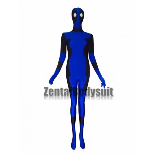 Black and Blue Spandex Deadpool Costume