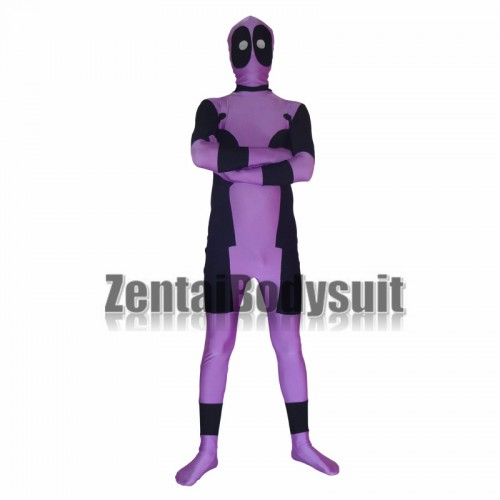 Black And Purple Spandex Deadpool Costume