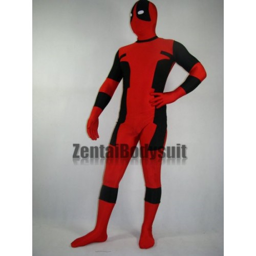 Classic Black and Red Spandex Deadpool Costume