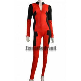 Deadpool Costume Front Open Catsuit without Hood Hand Feet