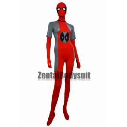 Deadpool Costume Gray And Red Spandex Lycra Zentai Suit