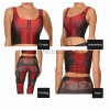 Lady Deadpool Superhero Print Vest Top Fitting Leggings