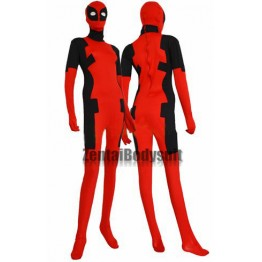 Red and Black Deadpool Costume Spandex Lycra Zentai Suit