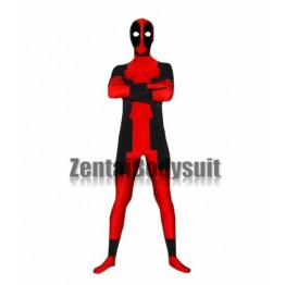 Red And Black Lycra spandex deadpool costume