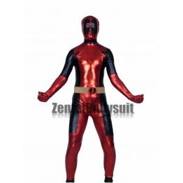 Red And Black Shiny Metallic Deadpool Costume