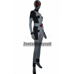 Black And Gray Lycra Spandex Custom Deadpool Superhero Costume