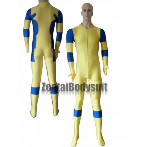 Yellow And Blue No Hood Spandex Deadpool Costume