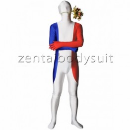 France Flag Lycra Spandex Zentai Suit
