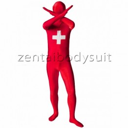 Switzerland Flag Lycra Spandex Zentai Suit