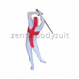 White Red England Flag Zentai Suit