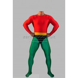 Aquaman Costume Red And Green Spandex Superhero Zentai Suit