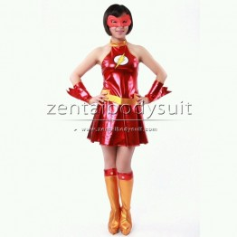 Female The Flash Suits Models Red Metallic Superhero Costumes