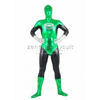 Fullbody Green Lantern Costume Shiny Metallic Superhero Zentai Suit