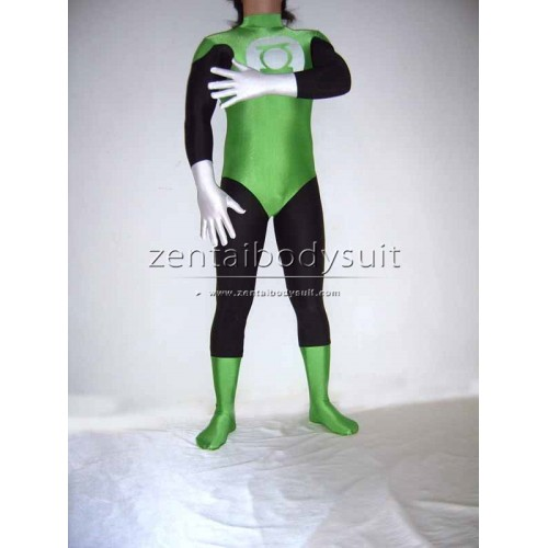 Green Lantern Costumes Green And Black Spandex Superhero Bodysuit