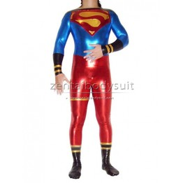 Shiny Metallic Superman Costume Superhero Zentai Suits