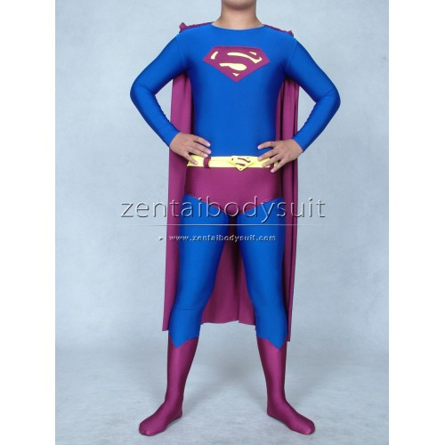 Superman Blue And Purple Spandex Lycra Superhero Costume