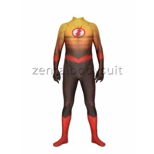 The Flash Costume Spandex Lycra Bodysuit 3D Muscle Shading