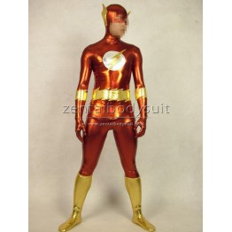 The Flash Suit Shiny Metallic Superhero Costume