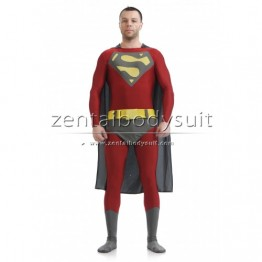 Wine Red And Dark Gray Lycra Spandex Superman Tights