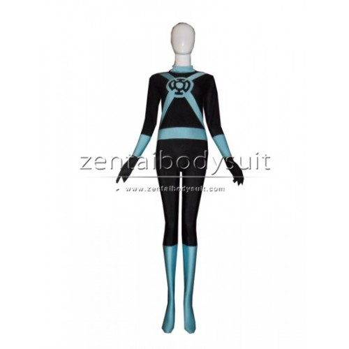 Blue Lantern Light Blue Spandex Superhero Cosplay Costu
