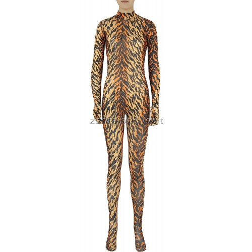 Tiger Pattern Skin Spandex Zentai Suit No Mask